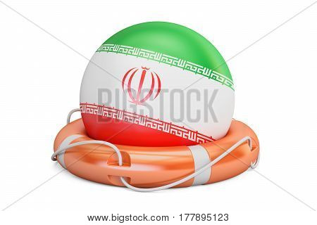Lifebelt with Iran flag safe help and protect concept. 3D rendering