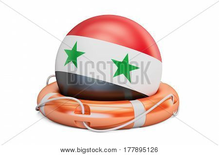 Lifebelt with Syria flag safe help and protect concept. 3D rendering