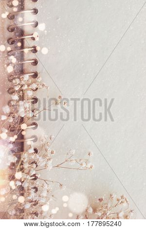 Blank aged paper with flowers; abstract greeting card