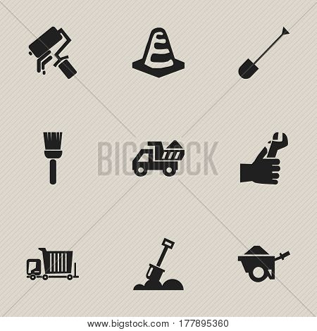 Set Of 9 Editable Construction Icons. Includes Symbols Such As Mop, Camion, Oar And More. Can Be Used For Web, Mobile, UI And Infographic Design.