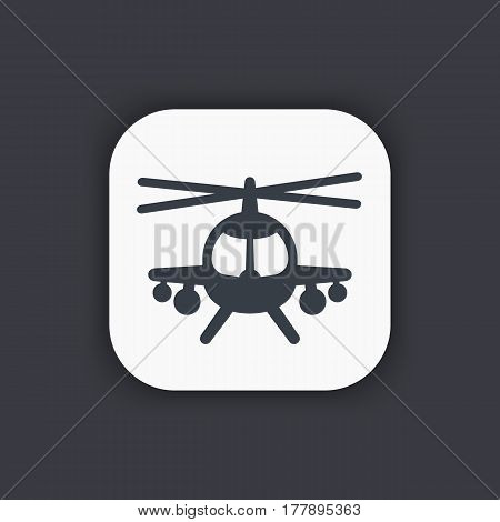 combat helicopter simple icon, sign, vector illustration