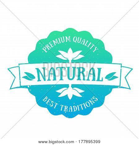 Natural Product emblem, badge over white, vector illustration