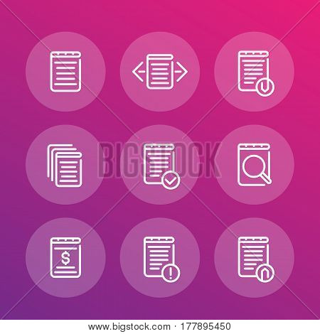 reports, records, documents line vector icons set