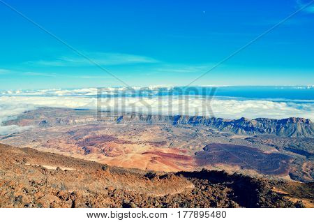 Beautiful Aerial View Of Volcano Caldera From Summit Pico Del Teide Mountain. Lava Rocks And Volcani