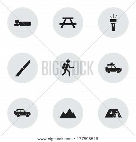 Set Of 9 Editable Travel Icons. Includes Symbols Such As Knife, Peak, Gait And More. Can Be Used For Web, Mobile, UI And Infographic Design.