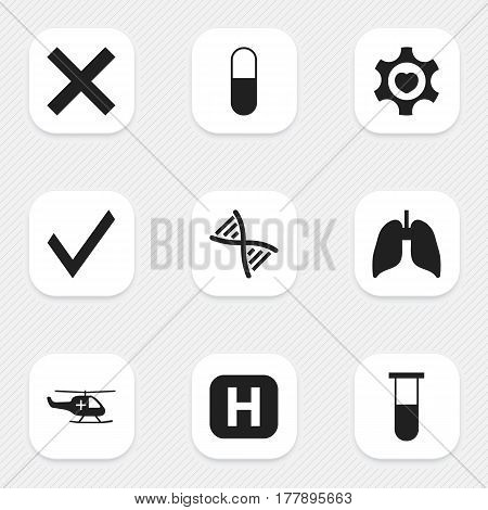 Set Of 9 Editable Hospital Icons. Includes Symbols Such As Drug, Clinic, Heart And More. Can Be Used For Web, Mobile, UI And Infographic Design.