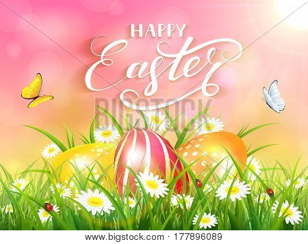 Easter theme with a flying butterflies and three colorful eggs on grass and flowers, pink nature background with sun beams and lettering Happy Easter, illustration.