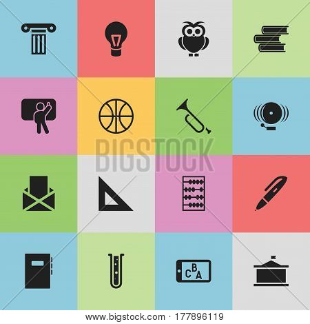 Set Of 16 Editable Science Icons. Includes Symbols Such As Pen, Arithmetic, Ring And More. Can Be Used For Web, Mobile, UI And Infographic Design.