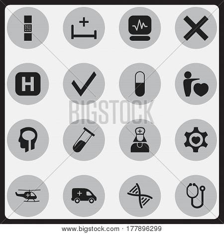 Set Of 16 Editable Hospital Icons. Includes Symbols Such As Genome, Intelligence, Hospital Assistant And More. Can Be Used For Web, Mobile, UI And Infographic Design.