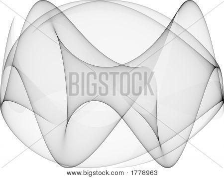 Op Art Sine Curves Two Black Glass
