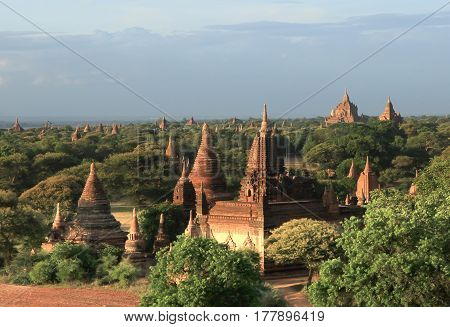 Amazing famous travel and landscape scene of ancient templesAt Bagan Myanmar. Top of the best destination of asia.