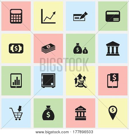 Set Of 16 Editable Banking Icons. Includes Symbols Such As Treasure, Bank Location, Shopping Pushcart And More. Can Be Used For Web, Mobile, UI And Infographic Design.