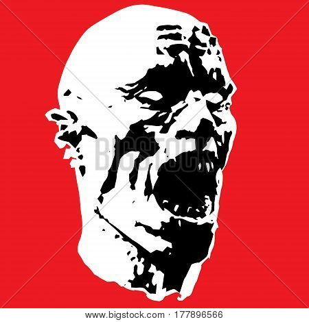 zombie screams head. horror image. vector illustration