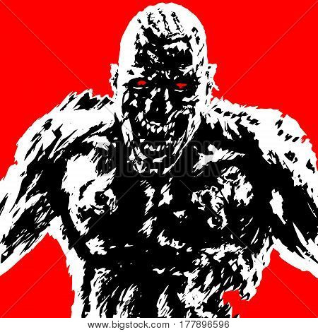 rabid zombie attack in black and white colors on red background. vector illustration