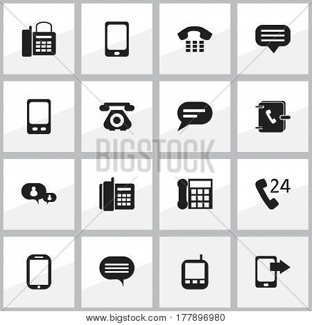Set Of 16 Editable Gadget Icons. Includes Symbols Such As Calling Device, Address Notebook, Share Display And More. Can Be Used For Web, Mobile, UI And Infographic Design.