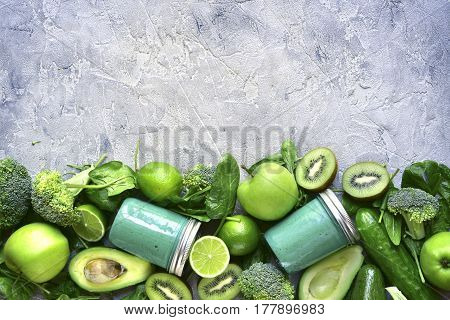 Green Detox Smoothie With Ingredients For Making.top View With Space For Text.