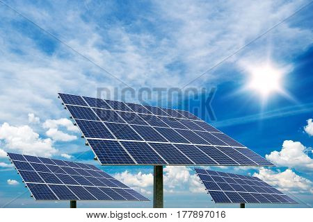 Photo Collage Of Solar Panels Against Blue Sky Background -  Concept Of Sustainable Resources