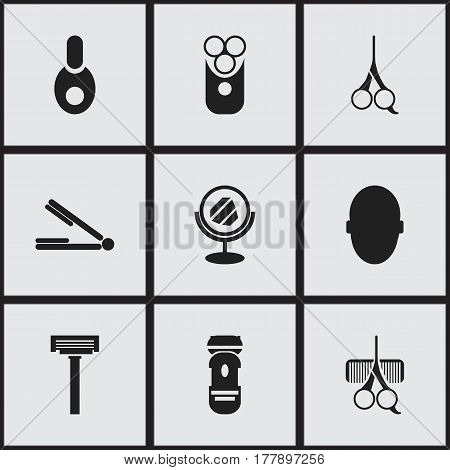 Set Of 9 Editable Hairstylist Icons. Includes Symbols Such As Vial, Take The Hair Dryer, Peeper And More. Can Be Used For Web, Mobile, UI And Infographic Design.