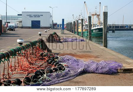 Netherlands Den Oever july 2016: fishery in the harbor