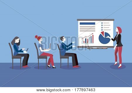 Business Conference Concept. Young business woman giving a class or lecture. In the audience, seated, there are men and business women. Business Conference concept.