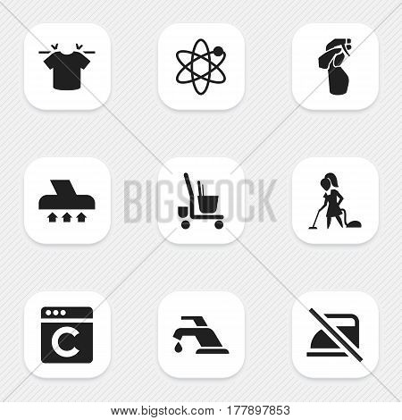 Set Of 9 Editable Hygiene Icons. Includes Symbols Such As Window Cleaner, Faucet, Exhauster And More. Can Be Used For Web, Mobile, UI And Infographic Design.