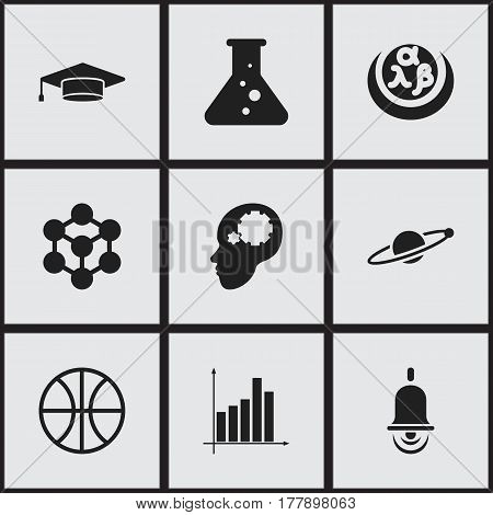 Set Of 9 Editable Science Icons. Includes Symbols Such As Alarm Bell, Chemistry, Graph And More. Can Be Used For Web, Mobile, UI And Infographic Design.