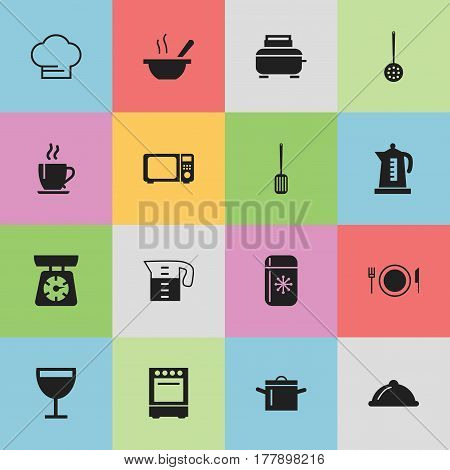 Set Of 16 Editable Cooking Icons. Includes Symbols Such As Plate, Kitchen Shovel, Cooking Cap And More. Can Be Used For Web, Mobile, UI And Infographic Design.