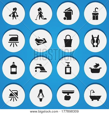 Set Of 16 Editable Dry-Cleaning Icons. Includes Symbols Such As Faucet, Hand Sanitizer, Cleaner. Can Be Used For Web, Mobile, UI And Infographic Design.