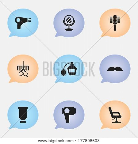 Set Of 9 Editable Barber Icons. Includes Symbols Such As Charger, Peeper, Hair Drier And More. Can Be Used For Web, Mobile, UI And Infographic Design.
