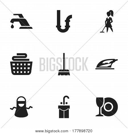 Set Of 9 Editable Dry-Cleaning Icons. Includes Symbols Such As Kitchen Clothing, Drainpipe, Whisk And More. Can Be Used For Web, Mobile, UI And Infographic Design.