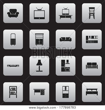 Set Of 16 Editable Home Icons. Includes Symbols Such As Wall Mirror, Bearings, Divan And More. Can Be Used For Web, Mobile, UI And Infographic Design.