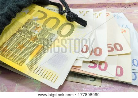 Euro Bills On The Table