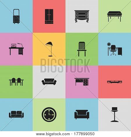 Set Of 16 Editable Furniture Icons. Includes Symbols Such As Enlightenment, Stillage, Cabinet And More. Can Be Used For Web, Mobile, UI And Infographic Design.