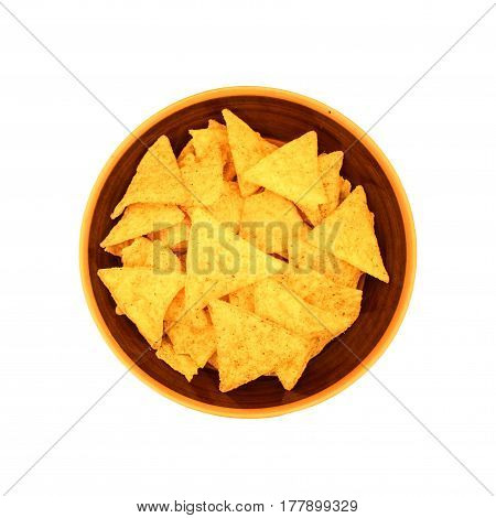 Mexican Nachos, Tortilla Chips In Brown Plate Bowl On White Background