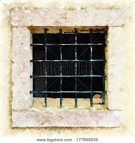 Digital watercolor painting of a square stone window with iron bars with flaking green paint in a grid pattern.