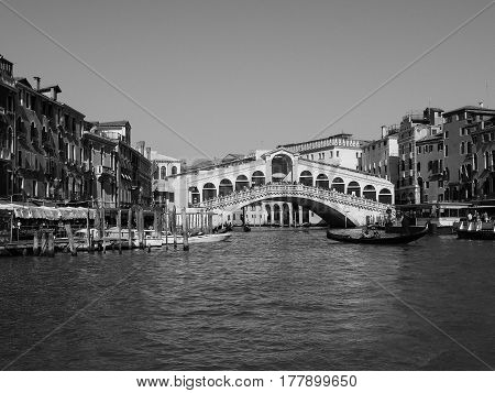 Rialto Bridge In Venice In Black And White
