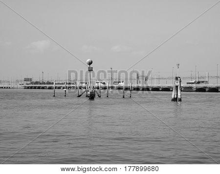 Ponte Liberta Bridge In Venice In Black And White