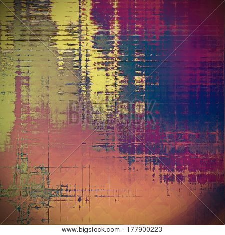 Vintage style background with ancient grunge elements. Aged texture with different color patterns: yellow (beige); blue; gray; purple (violet); pink