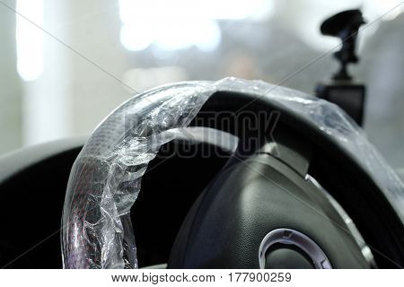 safety film on a steering wheel
