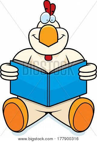 Cartoon Chicken Reading