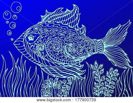 Doodle eye in the fish form. Isolated on the blue background