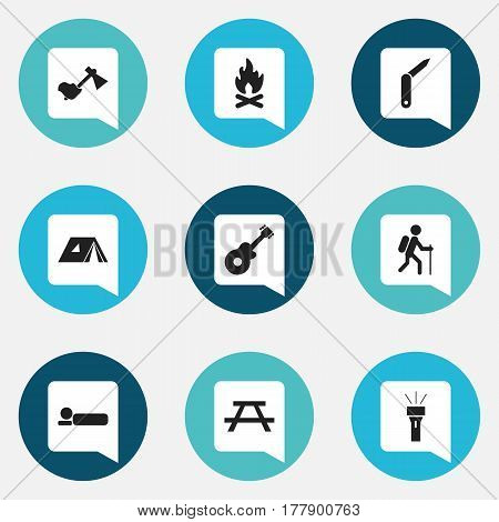 Set Of 9 Editable Travel Icons. Includes Symbols Such As Desk, Ax, Lantern And More. Can Be Used For Web, Mobile, UI And Infographic Design.