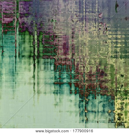 Grunge scratched background, abstract vintage style texture with different color patterns: green; blue; gray; purple (violet); cyan