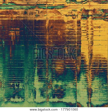 Creative vintage grunge texture or ragged old background for art projects. With different color patterns: yellow (beige); brown; green; blue; cyan