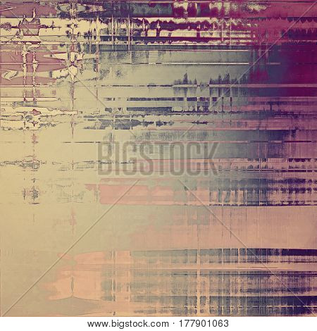 Retro vintage style elements on aged grunge texture. With different color patterns: yellow (beige); gray; purple (violet); pink