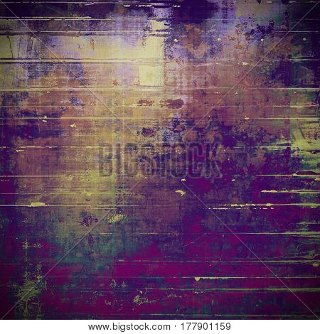 Old school elements on textured grunge background. With different color patterns: yellow (beige); brown; green; gray; purple (violet); pink