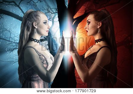 Two sides of a human being. Evil and kind sides of a woman photo.