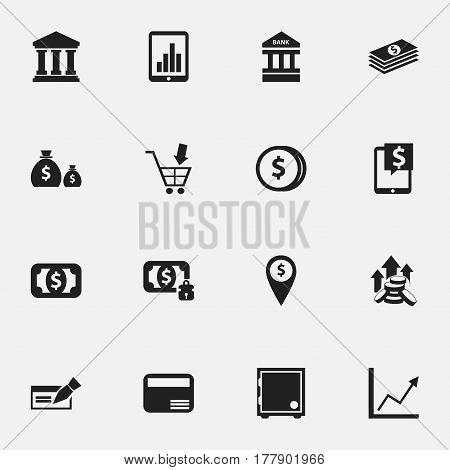 Set Of 16 Editable Banking Icons. Includes Symbols Such As Money Card, To Deposit Money, Diagram And More. Can Be Used For Web, Mobile, UI And Infographic Design.