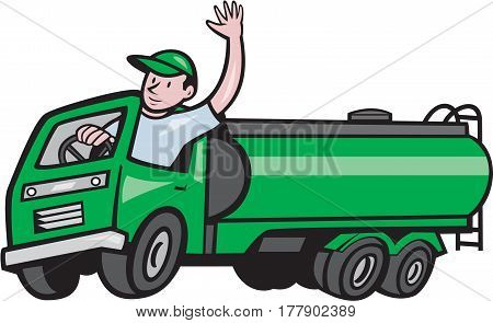 Illustration of a six 6 wheeler tanker truck petrol tanker with driver waving hello on isolated white background done in cartoon style.