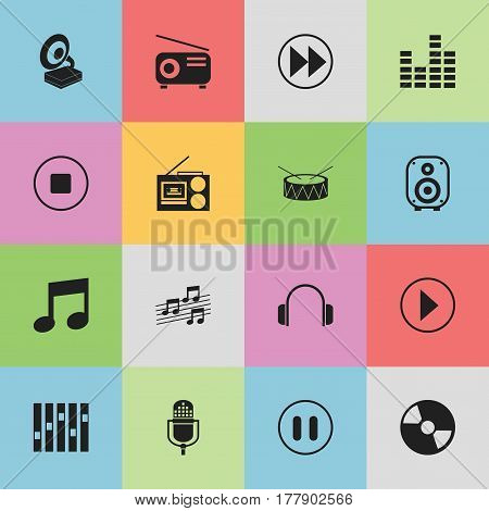 Set Of 16 Editable Song Icons. Includes Symbols Such As Snare, Disc, Microphone And More. Can Be Used For Web, Mobile, UI And Infographic Design.